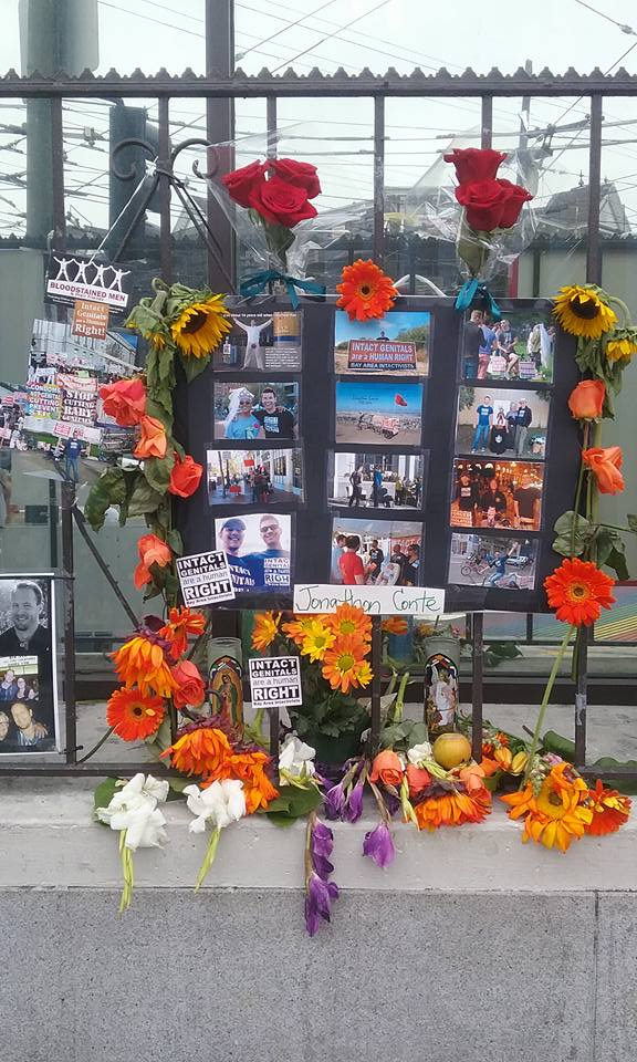 Public mounring for Jonathon Conte in San Francisco.